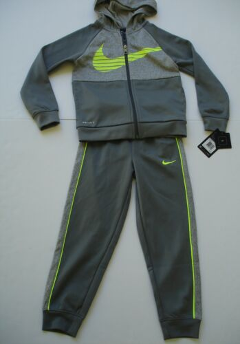 NWT Boy Size 7 - Nike Therma Outfit - Jacket and Jogger Pant - Gray and Neon