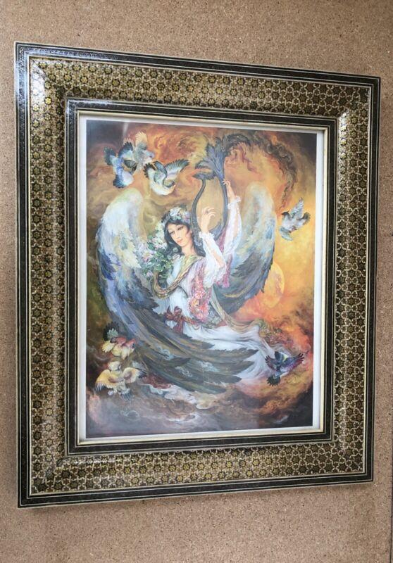 "Khatam Marquetry Middle Eastern Art Mosaic Frame 15""X13"" With Farshchian Print"