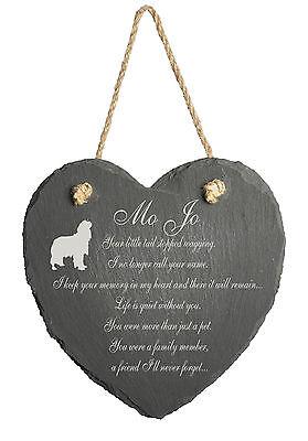 Personalised Engraved Slate Stone Heart Pet Memorial Grave Marker Plaque Dog j