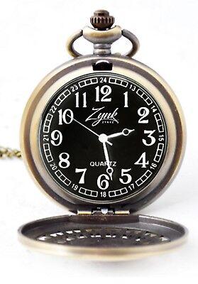 Zynkz Pocket Watch Black/Gold Colored Stainless Steel With Neckless Black Gold Pocket Watch