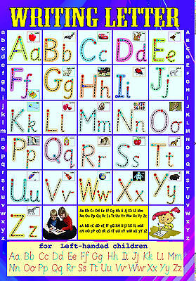A2 size  - laminated  WRITING ENGLISH LETTERS handwriting left / right poster  (Writing Posters)