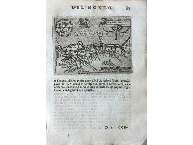 """""""GALLIA AE NARBONESIS ORA MARITIMA RECETI"""", Abraham Ortelius, ca.1667."""