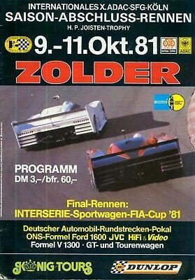 1981 Programm HP Joisten Trophy Zolder Interserie Rundstreckenpokal CanAm Bellof