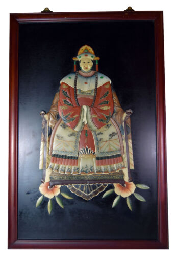 """42"""" Vintage Chinese 3D Relief Ornate Traditional Dress Ancestor Woman"""
