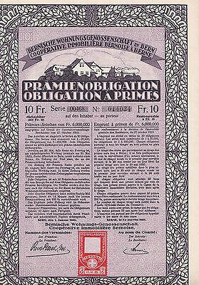 Bernische Wohnungsgenossenschaft in Bern-Prämienobligation-10 Franken-1920