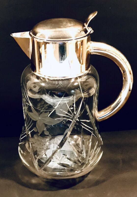 Beautiful Crystal Cut Glass & Silverplate  Water Serving Pitcher