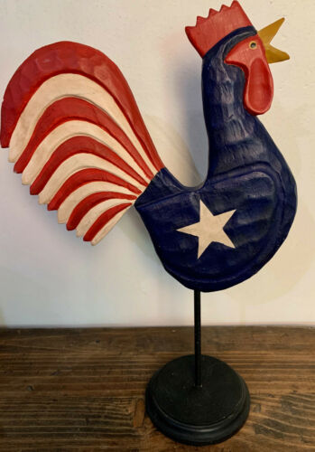 Hand Carved Americana ROOSTER