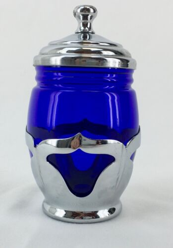 Farber Brothers Colbalt Blue  Glass Mustard Jar With Silver Work