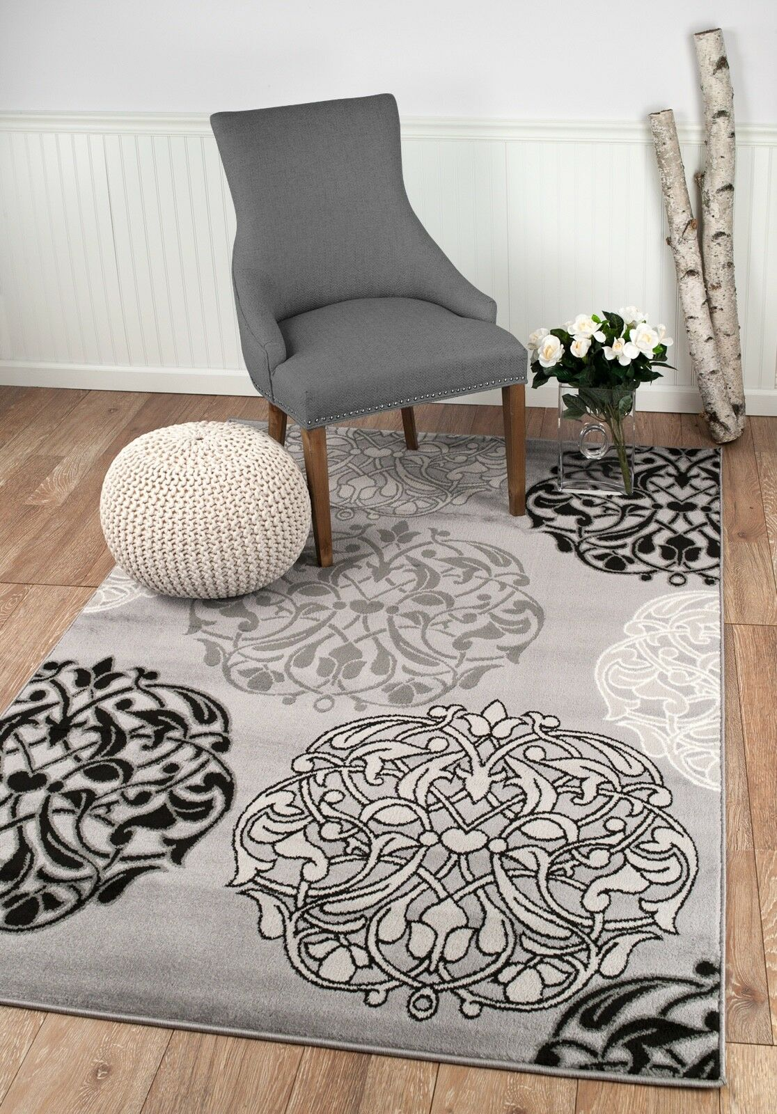 area rug Smt#45 Light and dark gray soft pile size options 2