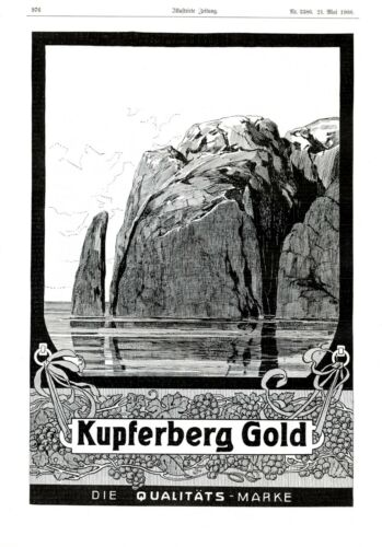 Champagne Kupferberg Gold XL 1908 ad German advertising maybe Heligoland