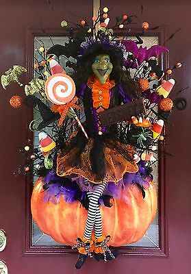 HALLOWEEN WREATH ARRANGEMENT PUMPKIN WITCH HAT CANDY CORN FLORAL PICKS DECOR