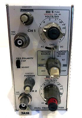 Tektronix Plug-in Module 7a18 Dual Trace Amplifier Tested Good