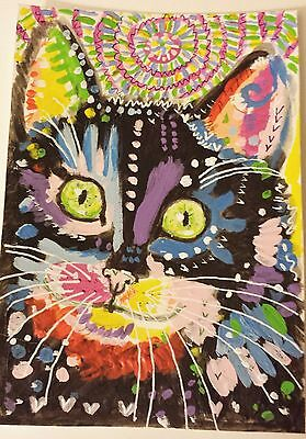 Abstract Casey  cat  Acrylic original painting  double ACEO  size  5  by 3.5