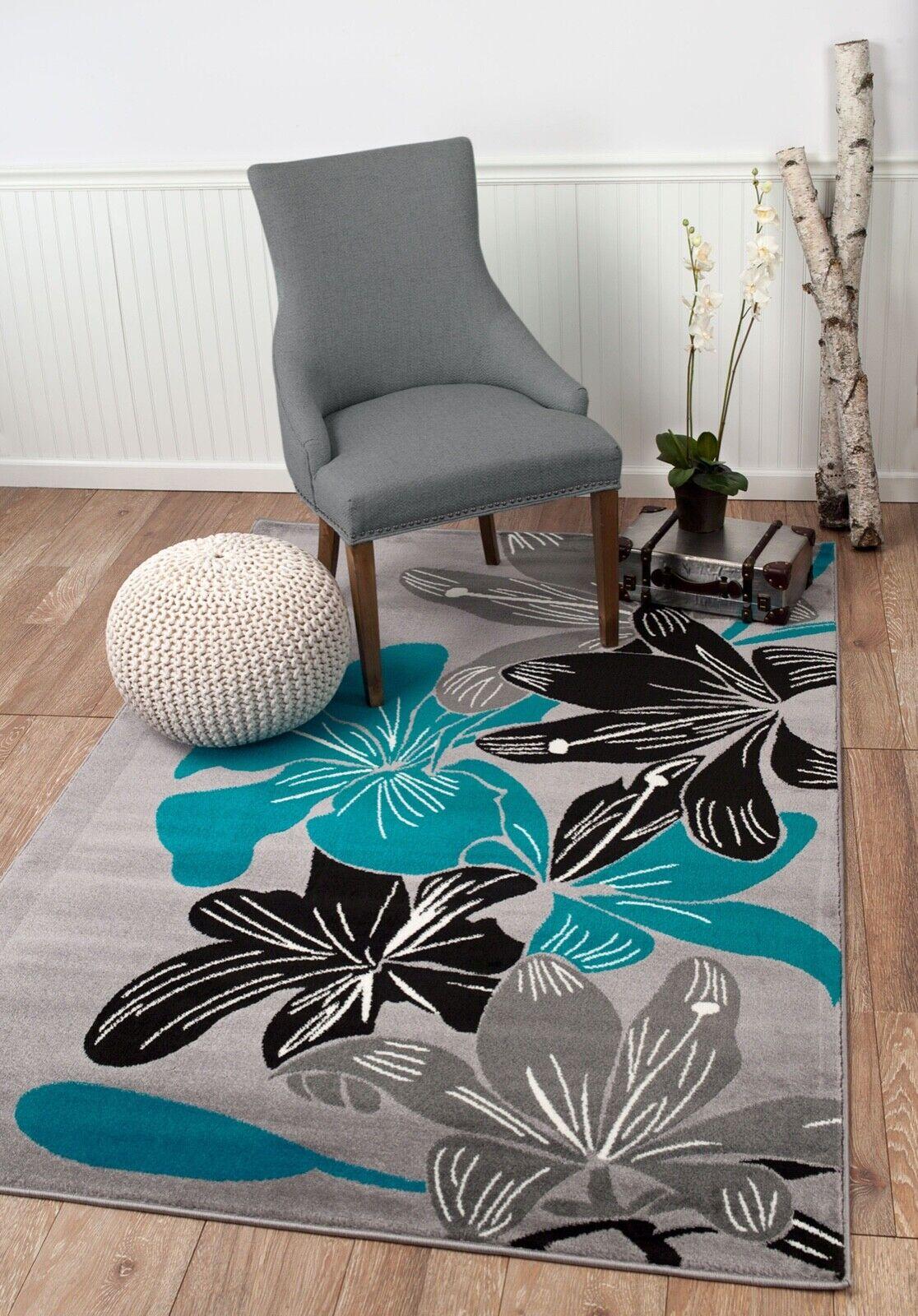 Area rug Smt#36 Floral gray black turquoise design soft pile