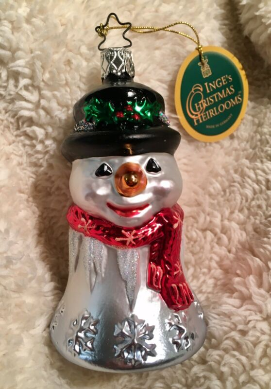 2002 Snowman Annual Bell Ornament, INGE Glass