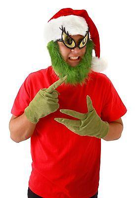 Dr Seuss Grinch Santa Adult Costume Hat With Beard Elope (Dr Seuss Accessories)