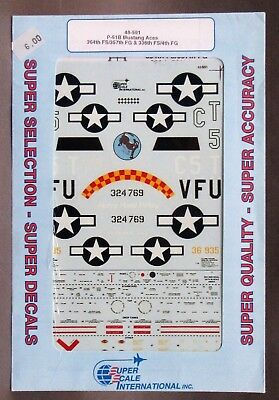 1/48 SuperScale Decals 48-591 P-51B MUSTANGS 364th 357th 336th mint