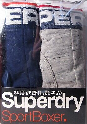 (2 Pairs) SUPERDRY Men's Tipped Sport Boxer Navy/Gray (Size Large, L) >NEW<