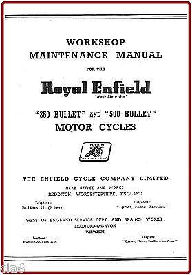 Royal Enfield 350 and 500 Bullet Workshop Manual 1956-61 *NEW