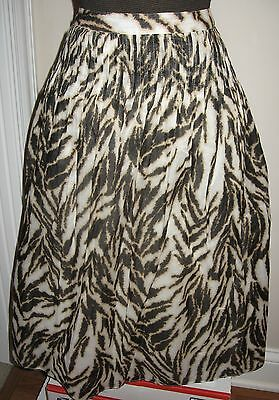 Talbots $99 Tiger Print Cotton Pleated Washable Summer Work Skirt 12 Petite