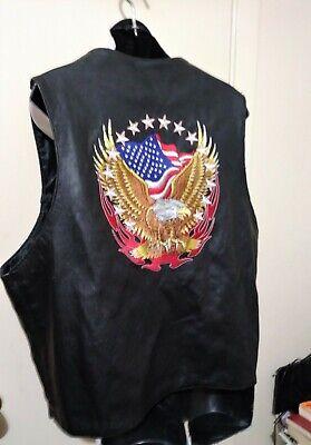 Men's Genuine Leather Flag Eagle EMBROIDERED Motorcycle Biker Vest Black Size XL Flag Leather Vest