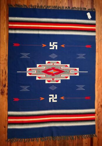 CHIMAYO HAND-LOOMED WOOL BLANKET, INCREDIBLE EXCELLENT CONDITION, EARLY 20TH C