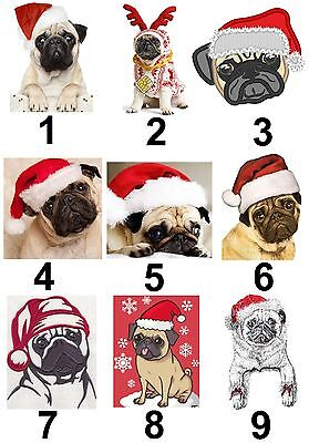 Christmas Pug Large Sticky White Paper Stickers Labels NEW ()
