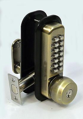 All-Weather Mechanical Keyless Deadbolt Door Lock, Antique Brass