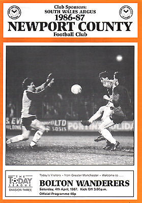 1986/87 Newport County v Bolton Wanderers, Division 3, PERFECT CONDITION