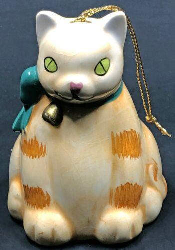 Vintage Silvestri Cat Bell Ornament Porcelain Orange Tabby Green Eyes Christmas