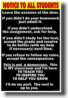 Notice To Students  Big Text    New School Classroom Student Motivational Poster