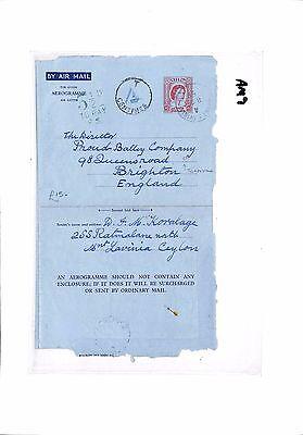 AM9 1959 CEYLON Mount Lavinia to GB Brighton. Air letter. 'To pay'