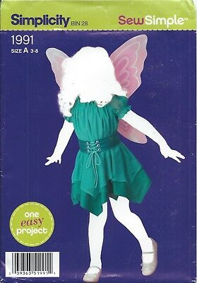 Simplicity 1991 HALLOWEEN COSTUME Pattern ~ FAIRY ~ Child 3-8 ~ SEW SIMPLE - EZ - Halloween Costumes Patterns