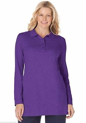 Woman Within Long Sleeve Polo Shirt