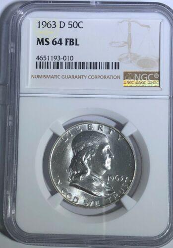 1963 D NGC MS64 FBL BEN FRANKLIN HALF DOLLAR FULL BELL LINES 90% SILVER COIN