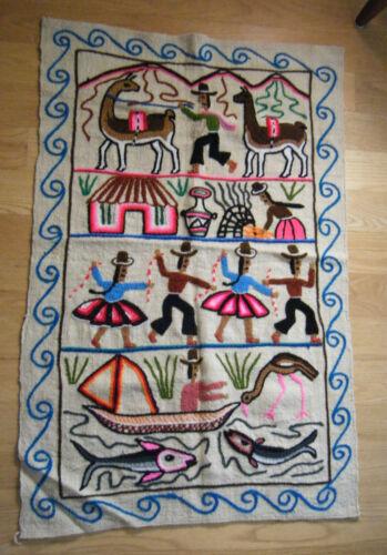 1960-70s Handmade Alpaca Wool Peruvian Embroidered Table Runner Tapestry