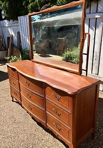 Antique Wooden French Provincial Dresser w/mirror,head&footboard