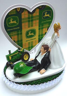 Wedding Cake Tops (Wedding Cake Topper John Deere Tractor Themed Green Turf Top Groom's Farming)