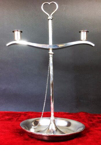 CHANDELIER TWO LIGHTS. REGULABLE. STERLING SILVER. PUIG DORIA. SPAIN CIRCA 1950