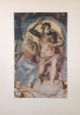 """1955 Vintage Color Art Plate """"LAST JUDGEMENT"""" 09 SISTINE MICHELANGELO Lithograph"""