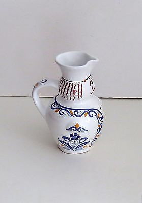 Vintage Hand Made  White Ceramic  Pitcher- Signed- Made In Hungary
