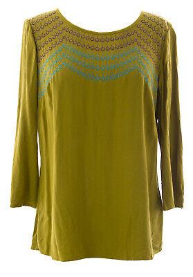 Boden Damen Olive Kostüm Besticktes Top WA532 US Sz 8 (Bestickte Damen Kostüm)