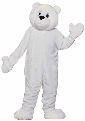 Polar Bear Plush Mascot Costume Adult Economy White Cuddly Arctic Halloween](Polar Bear Costume Halloween)