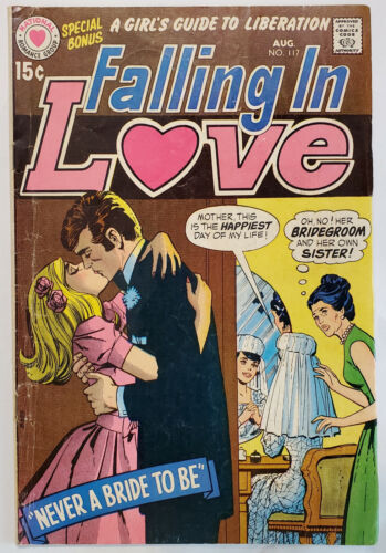 """Falling in Love #117 (1970, DC) GD+ LOW GRADE """"Never a Bride to Be"""" Romance"""