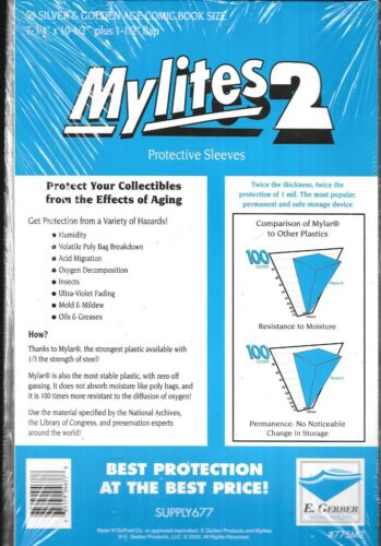 (50) SILVER & GOLDEN AGE COMIC BOOK SIZE MYLITES 2 PROTECTIVE SLEEVES / E GERBER