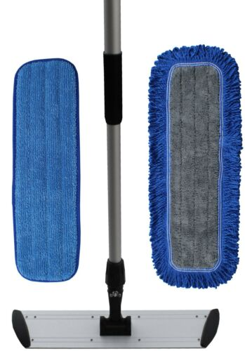 "Ultimate 24"" Microfiber Mop Kit | Microfiber Mop Pads | Flat Frame | Mop Handle"