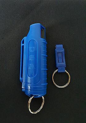 Police Magnum pepper spray .50oz blue molded keychain QR self defense protection