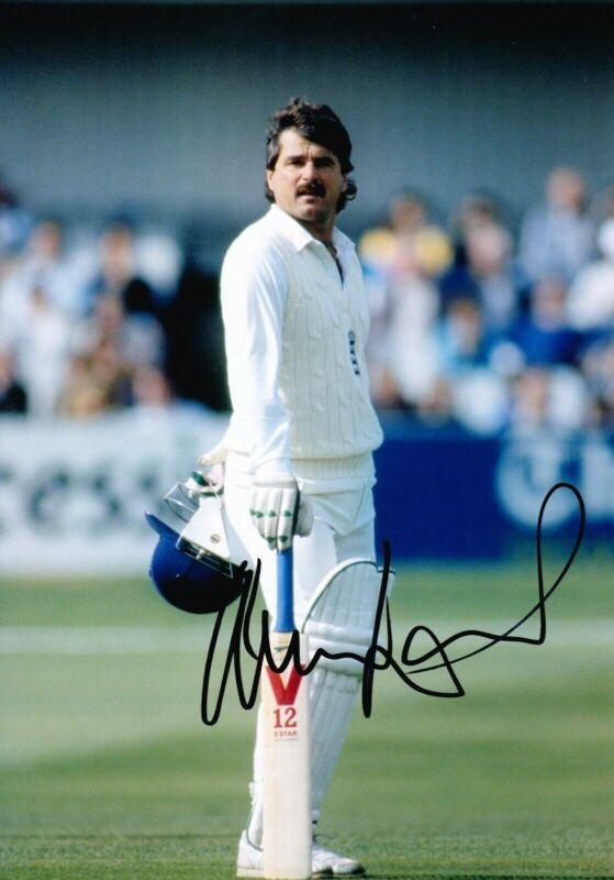 Allan Lamb Signed 12X8 Photo England Cricket Legend AFTAL COA (2605)
