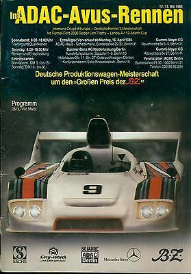 1984 Programm DTM ADAC Avus Rennen Berlin Interserie F3 Lancia A112 Abarth Cup