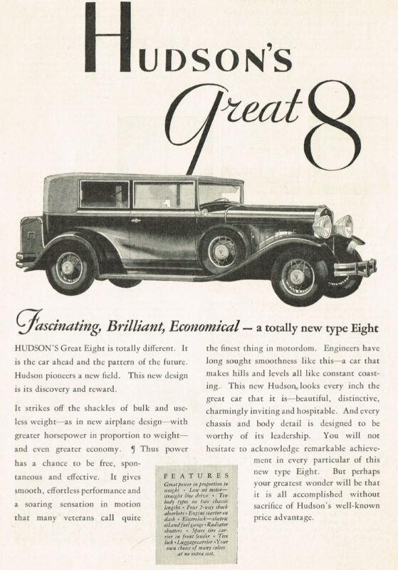 1930 Original Vintage Hudson Great Eight 8 Car Automobile Art Print Ad